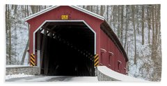 The Colemansville Covered Bridge In Winter Hand Towel