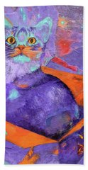 The Color Purrrple Bath Towel by Nancy Jolley
