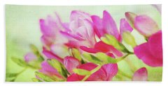 Bath Towel featuring the photograph Colour Full Freesia by Connie Handscomb