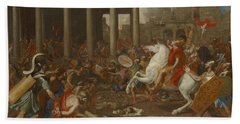 The Conquest Of Jerusalem By Emperor Titus By Nicolas Poussin, 1638. Bath Towel