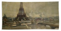 The Construction Of The Eiffel Tower Hand Towel by Paul Louis Delance