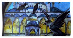 The Courtyard Of The Blue Mosque At Dusk Hand Towel by Anna Duyunova