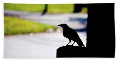 Hand Towel featuring the photograph The Crow Awaits by Karol Livote