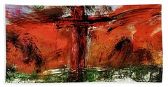 Bath Towel featuring the mixed media The Crucifixion #1 by Michael Lucarelli