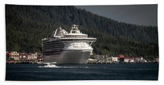 The Cruise Ship And The Plane Bath Towel by Timothy Latta