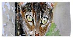 The Curious Tabby Cat Hand Towel