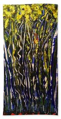 Bath Towel featuring the painting The Dancing Garden by Kicking Bear Productions