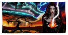 Hand Towel featuring the painting The Dark Caster Calls The Storm by James Christopher Hill