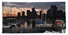 The Day Ends At The Marina Hand Towel