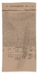 The Declaration Of Independence Hand Towel by War Is Hell Store