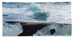 Hand Towel featuring the photograph The Diamond Beach, Jokulsarlon, Iceland by Dubi Roman