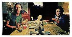 The Dinner Scene - Texas Chainsaw Bath Towel by Taylan Apukovska