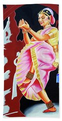 The Divine Dance Of Bharatanatyam Bath Towel by Ragunath Venkatraman