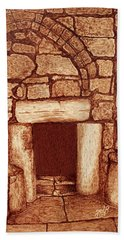 Bath Towel featuring the painting The Door Of Humility At The Church Of The Nativity Bethlehem by Georgeta Blanaru