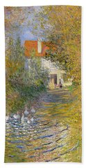 The Duck Pond Hand Towel by Claude Monet
