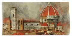 Bath Towel featuring the photograph The Duomo Florence by Brian Tarr