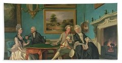 The Dutton Family In The Drawing Room Of Sherborne Park, Gloucestershire Hand Towel