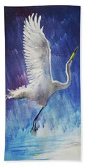 The Egret Hand Towel by Seth Weaver