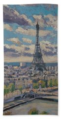 Hand Towel featuring the painting The Eiffel Tower Paris by Nop Briex