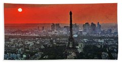 Hand Towel featuring the painting The Eiffel Tower by PixBreak Art