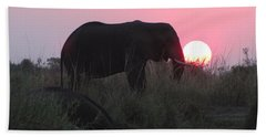 The Elephant And The Sun Hand Towel