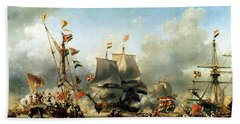 The Embarkation Of Ruyter And William De Witt In 1667 Hand Towel