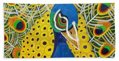 Bath Towel featuring the painting The Eye Of The Peacock by Margaret Harmon