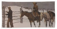 The Fall Of The Cowboy Hand Towel by Frederic Remington