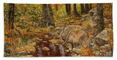 Hand Towel featuring the painting The Fall Stream by Roena King