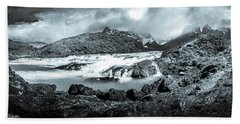 The Falls In Black And White Hand Towel by Andrew Matwijec