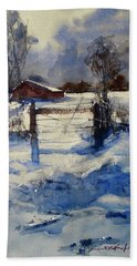 Hand Towel featuring the painting The Farm On Barry by Sandra Strohschein
