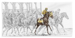The Favorite - Thoroughbred Race Print Color Tinted Bath Towel