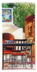 The Fireplace, Table And Door Bath Towel by Kirt Tisdale