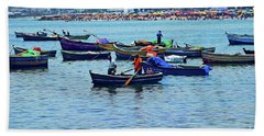 Hand Towel featuring the photograph The Fishermen - Miraflores, Peru by Mary Machare