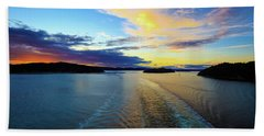 The Fjords Of Kristansand, Norway At Sunset Bath Towel by Allan Levin