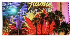 Hand Towel featuring the photograph The Flamingo Neon Sign And Palm Trees Wide by Aloha Art