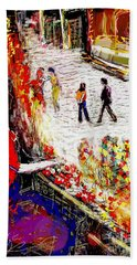The Flower Vendor In Front Of The Temple Gate Hand Towel
