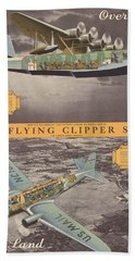 The Flying Clipper Ships - Pan American Airways - Vintage Travel Advertising Poster Hand Towel