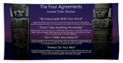 The Four Agreements Poster Bath Towel