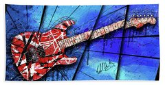 The Frankenstrat On Blue I Hand Towel by Gary Bodnar