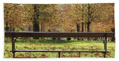 Bath Towel featuring the photograph The French Bench And The Autumn by Yoel Koskas