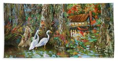Hand Towel featuring the painting The Gathering - Louisiana Swamp Life by Dianne Parks