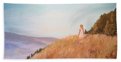 Bath Towel featuring the painting The Girl On The Hill by Alan Lakin