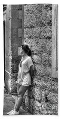 The Girl On The Street Hand Towel by Yury Bashkin