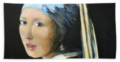 The Girl With The Pearl Earring  Hand Towel