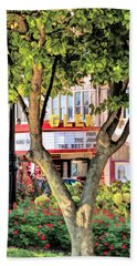 Bath Towel featuring the painting The Glen Movie Theater by Christopher Arndt