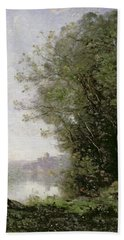 The Goatherd Beside The Water  Hand Towel by Jean Baptiste Camille Corot