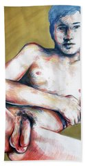 Bath Towel featuring the painting The Golden Boys Stares Back  by Rene Capone