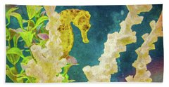 Hand Towel featuring the photograph The Golden Seahorse Painted by Sandi OReilly