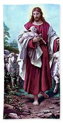 The Good Shepherd 1878 Bernhard Plockhorst Hand Towel